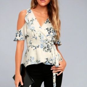 NWT Lulu's Everything's Bouquet Floral Wrap Blouse